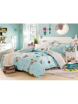 Fantastic Blue Cartoon 4-Piece Bedding Sets
