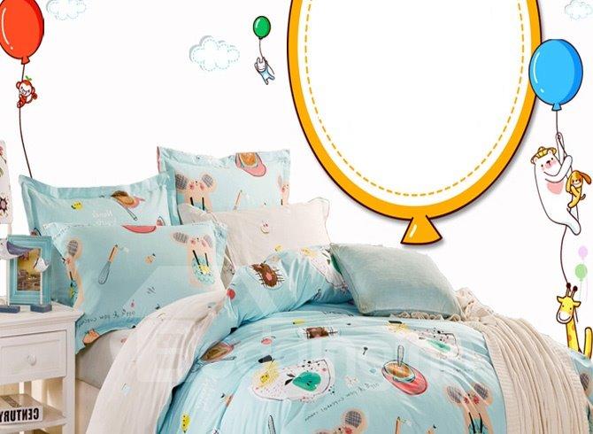 Fantastic Blue Cartoon 4-Piece Bedding Sets