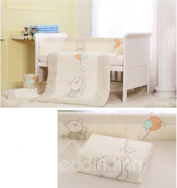 Big Bear and Balloon Print 7-Piece Cotton Baby Crib Bedding Set