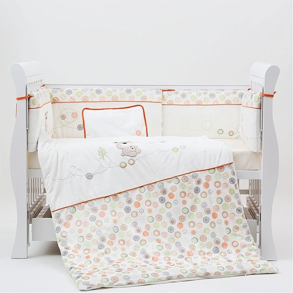 Lovely Bear and Polka Dot Pattern 7-Piece Cotton Baby Crib Bedding Set
