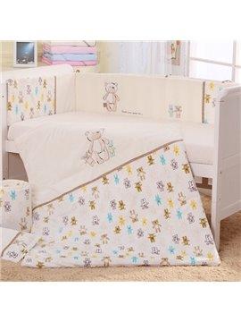 Cute Bear Hand in Hand Print 7-Piece Cotton Baby Crib Bedding Set