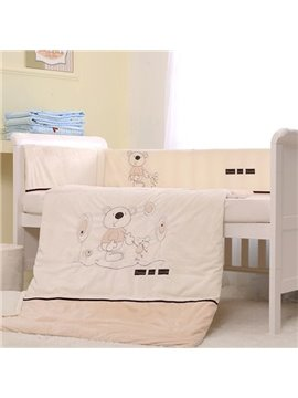 Big Bear with Friend Print 7-Piece Cotton Baby Crib Bedding Set