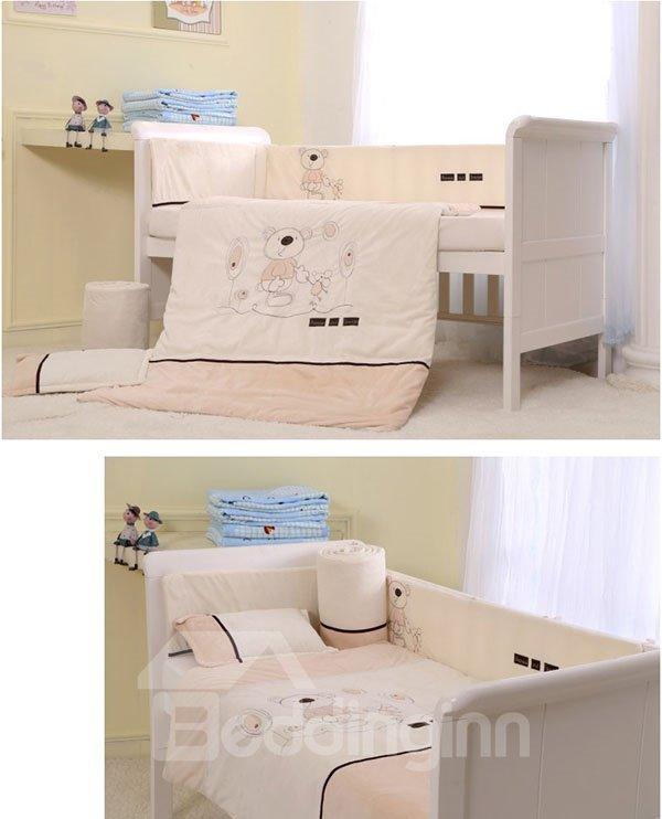 Big Bear with Friend Print 7-Piece Cotton Baby Crib Bedding Set