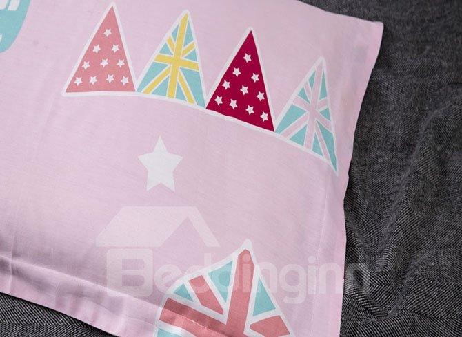 Pink Cartoon Printing 4-Piece Duvet Cover Sets