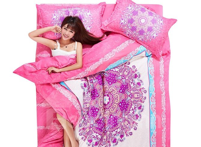 Luxury Pink Flowers 4-Piece Duvet Cover Sets