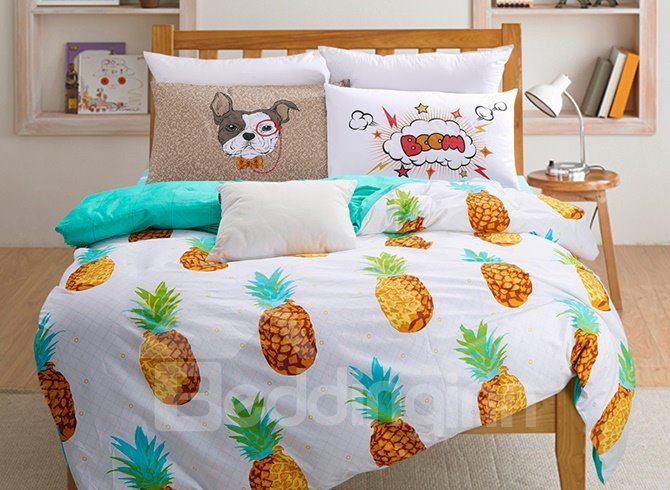 Lovely Colorful Pineapple Printing 4-Piece Duvet Cover Sets