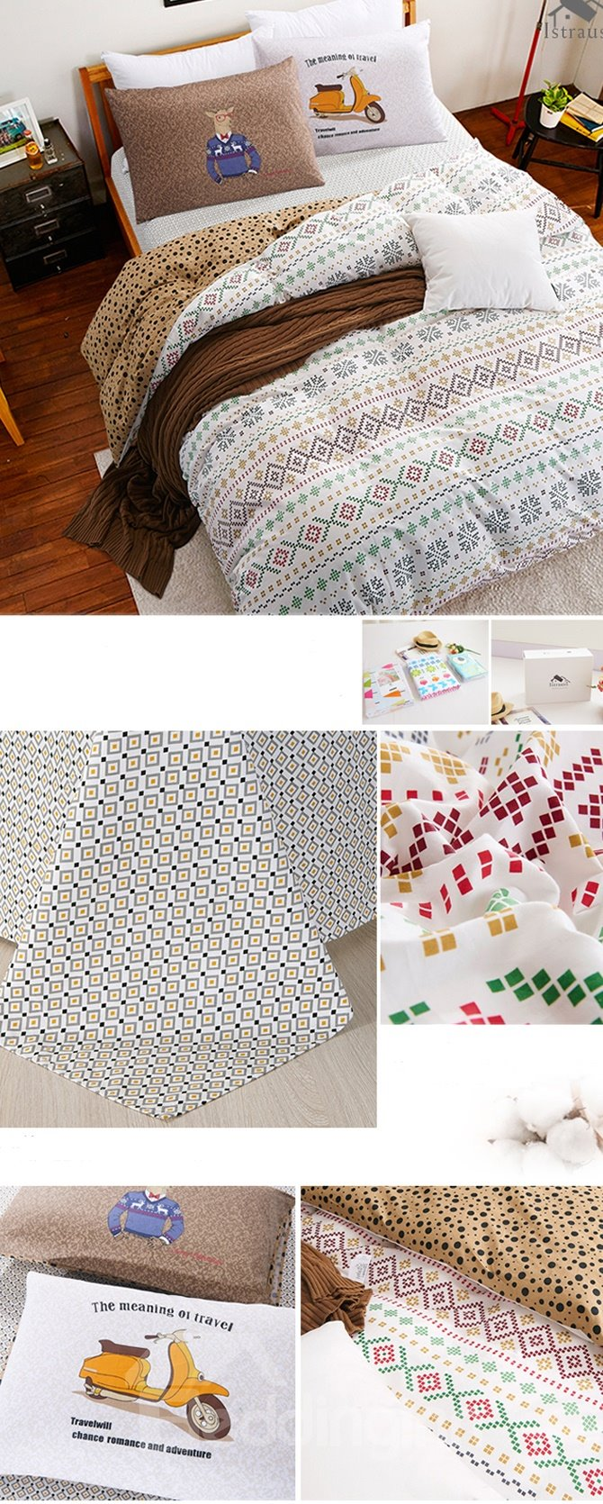 Graceful Geometric Printing 4-Piece Duvet Cover Sets