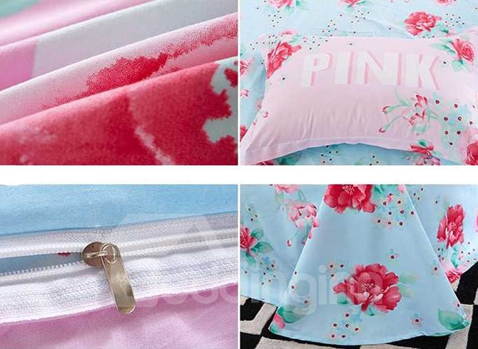 Beautiful Pink Flowers 4-Piece Duvet Cover Sets