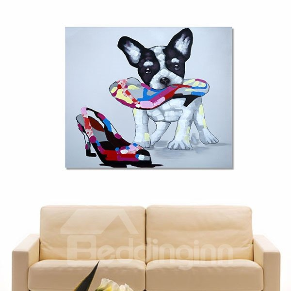 Very Cute Dog With High-heeled Shoes Hand Painted Wall Prints