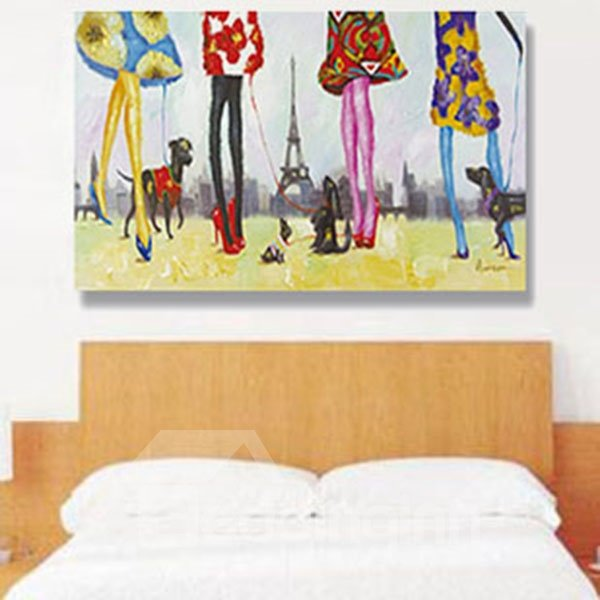 Beautiful Woman and Dogs European Scenery Hand Painted Wall Prints