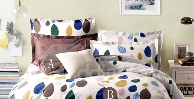 Raindrop Pattern Simple Style Cotton 4-Piece Bedding Sets/Duvet Cover