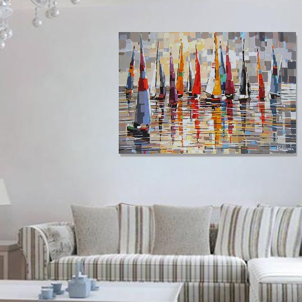 Beautiful Hand-Painted Wall Prints With Many Boat