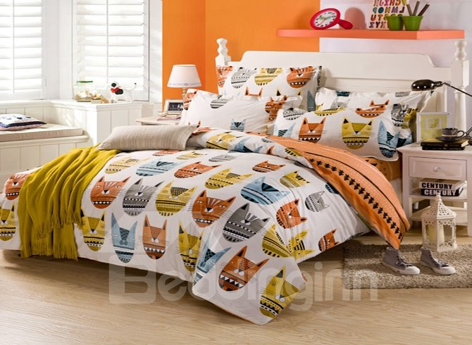 Cute And Stupid Little Monster 4-Pieces 100% Cotton Bedding Sets