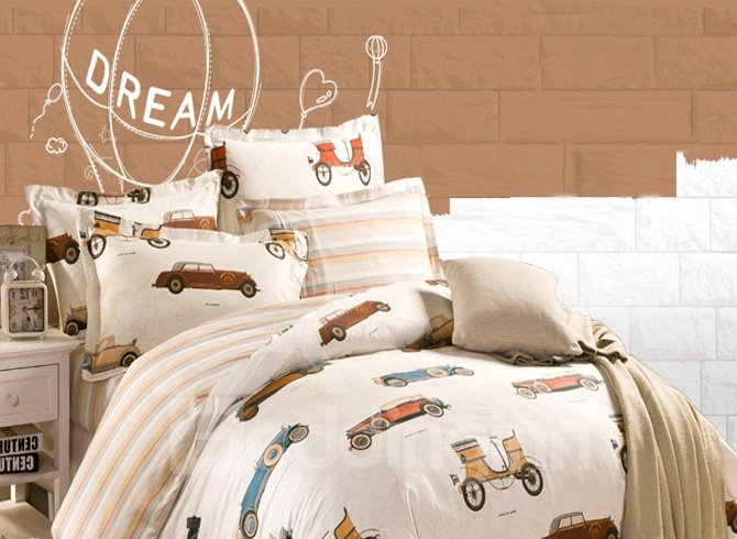 Multi-Type Cartoon Cars Modern Style Cotton 4-Pieces Bedding Sets/Duvet Cover