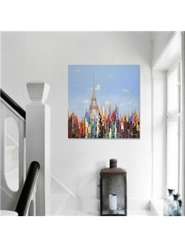 Beautiful Hand-Painted Tower and City Scenery Wall Print