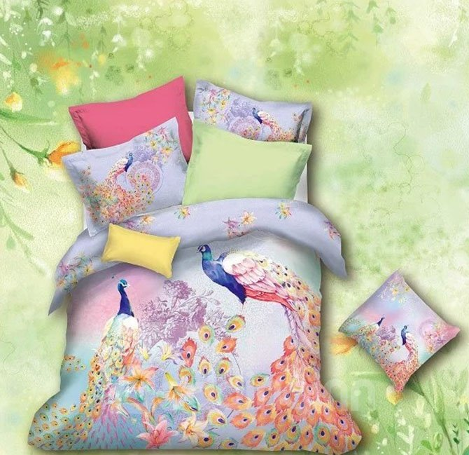 New Arrival 100% Cotton Colorful Peacock Print 4 Piece Bedding Sets
