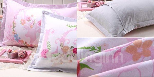 Excellent Pink Letters Print Cotton 2-Piece Pillow Cases