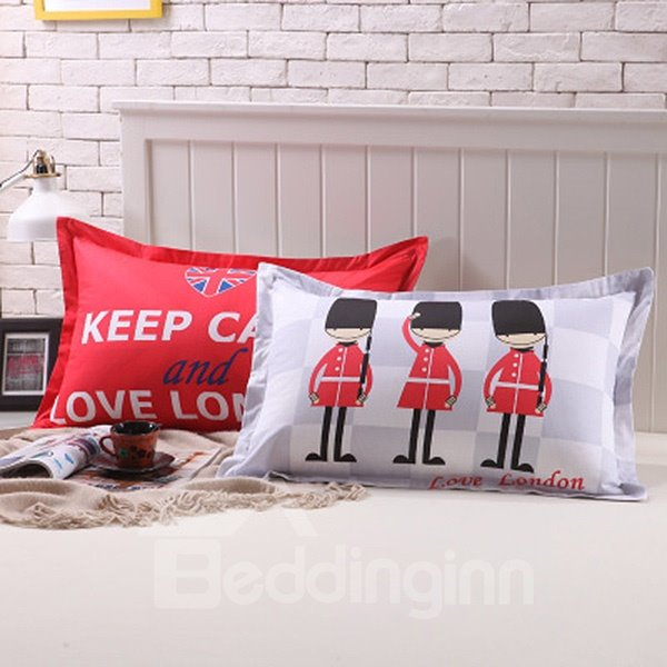 Creative Soldier Design Cotton 2-Piece Pillow Cases