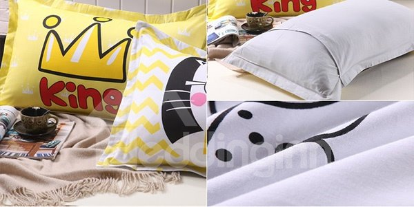 Lovely Cartoon Kitty Yellow Cotton 2-Piece Pillow Cases