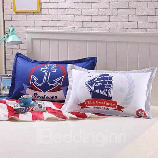 Unique Nautical Theme Cotton 2-Piece Pillow Cases