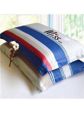 Concise Style Stripe Design Cotton 2-Piece Pillow Cases