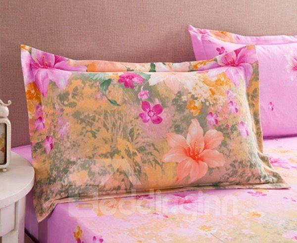 Elegant Glamorous Flowers Design Cotton 2-Piece Pillow Cases