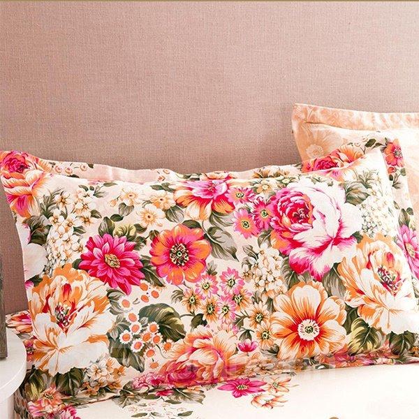 Unique Romantic Flowers Print Cotton 2-Piece Pillow Cases