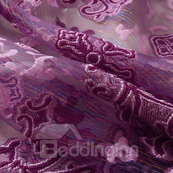 Elegant Pierced Purple Custom Sheer Curtain