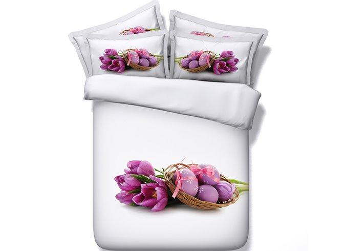 3D Purple Tulips and Easter Eggs Printed Cotton 4-Piece White Bedding Sets