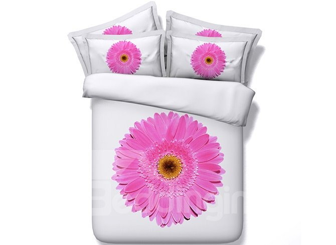 3D Pink Daisy Printed Cotton 4-Piece White Bedding Sets/Duvet Covers