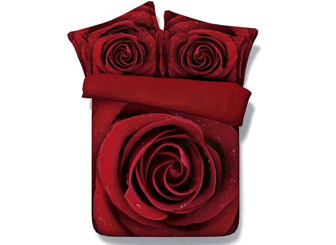 3D Red Blooming Rose Printed Romantic Cotton 4-Piece Red Bedding Sets
