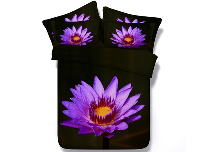 3D Blooming Purple Flower Printed Cotton 4-Piece Bedding Sets/Duvet Cover