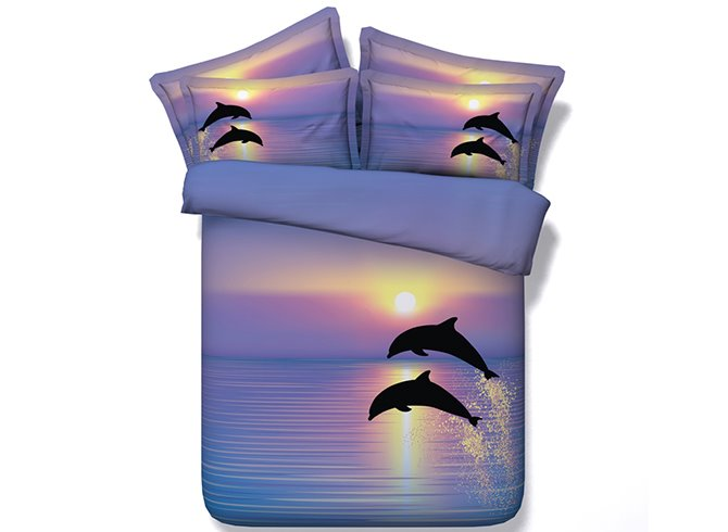 Jumping Dolphins Printed Cotton 4-Piece Purple 3D Bedding Sets/Duvet Covers