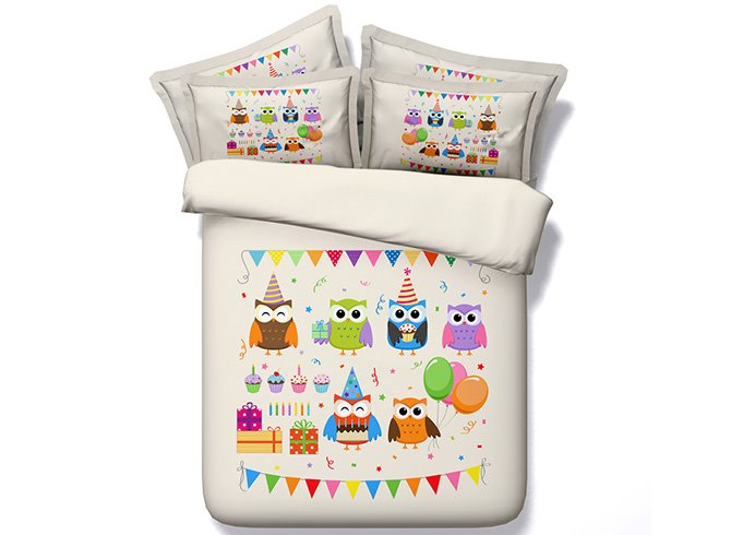 3D Cartoon Owl and Balloons Printed Cotton 4-Piece Bedding Sets/Duvet Covers