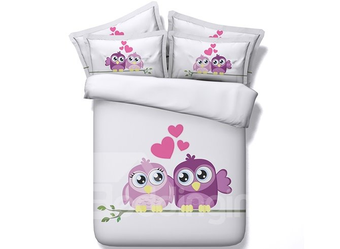 Sweet Lovely Owl Printing 100% Cotton 4-Piece Duvet Cover Set
