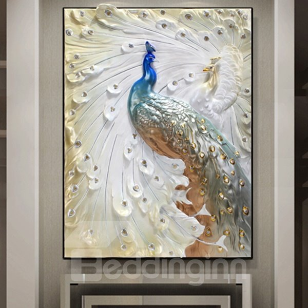 24×31in 3D Peacock Printed Hanging Canvas Waterproof and Eco-friendly Framed Prints