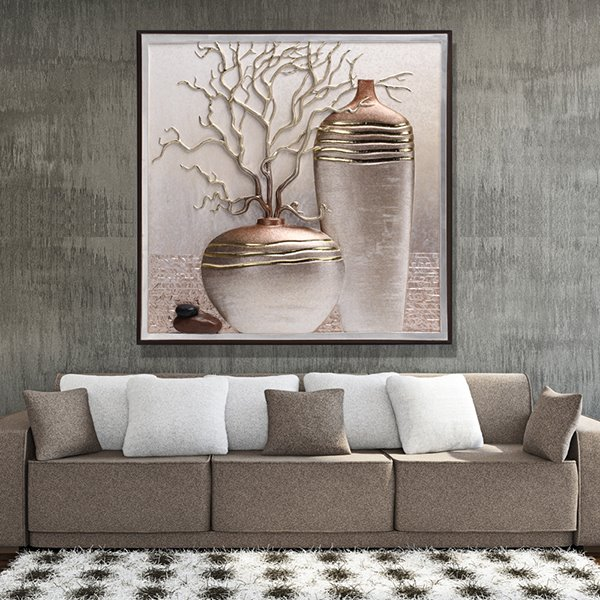 24×24in 3D Vase Printed Hanging Canvas Waterproof and Eco-friendly Framed Prints