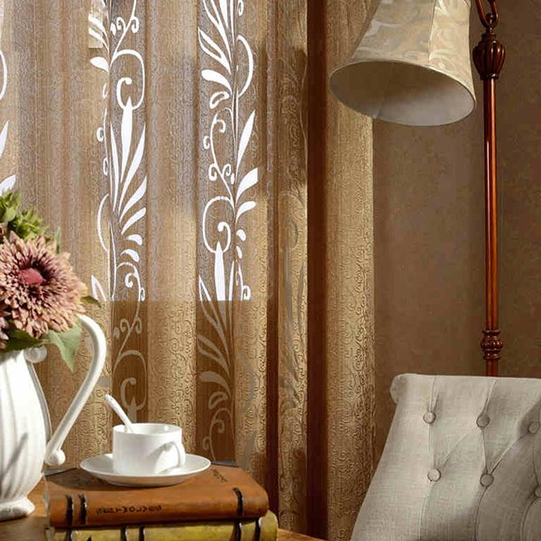 Modern Home Decor Solid Champagne Custom Sheer Curtain