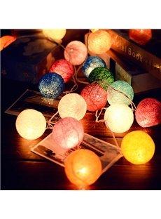 Colorful Handmade DIY Fabric Decorative 20 Bulbs Battery String LED Lights