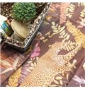 Bohemian Splendid Leopards and Giraffes 4-Piece Brown Print Cotton Bedding Set