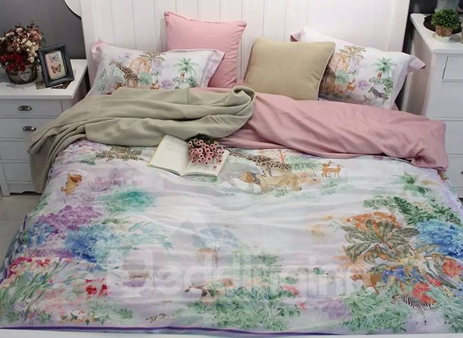 Fresh Style Floral 4-Piece Print Cotton Bedding Set
