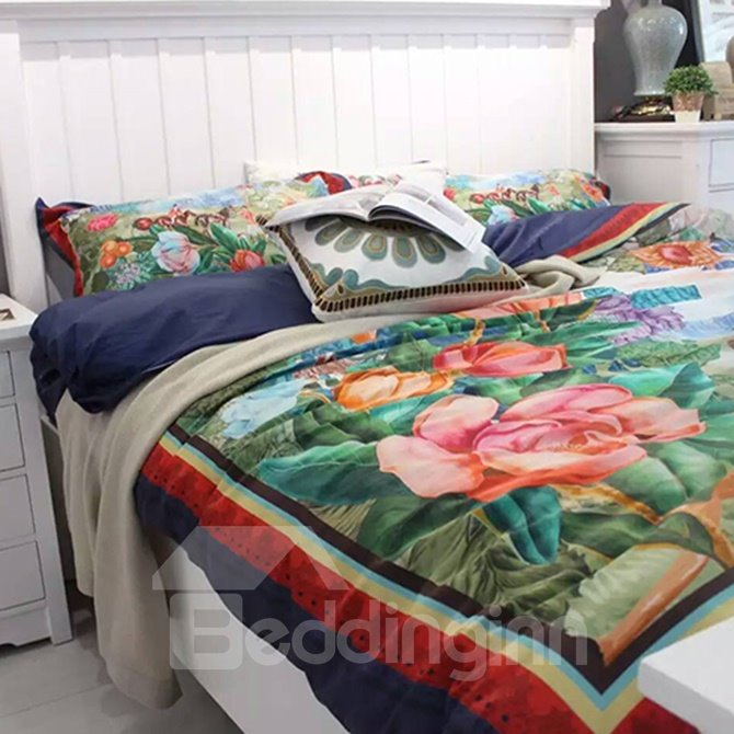 New Arrival Country Style Big Flowers 4-Piece Print Cotton Bedding Set