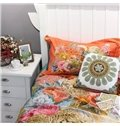 Bohemian Leopards and Big Flowers Colorful 4-Piece Cotton Bedding Set