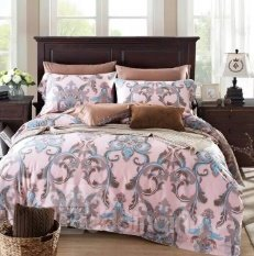 Violet American Country Style Twinned Trunks 4-Piece Print Cotton Bedding Set