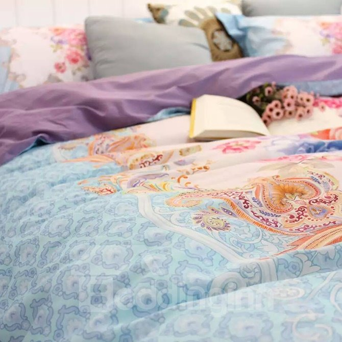 Luxurious Retro Big Flowers Blue 4-Piece Print Cotton Bedding Set