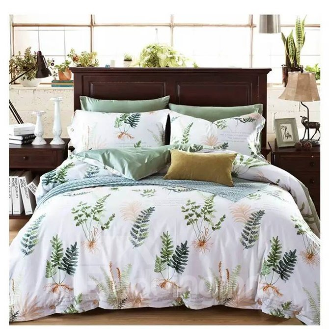 Concise American Country Style Mimose 4-Piece Print Cotton Bedding Set