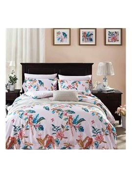 Fresh American Country Style Floral 4-Piece Print Cotton Bedding Set