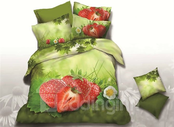 New Design Fabulous Strawberry Printed 4-Piece Duvet Cover Sets