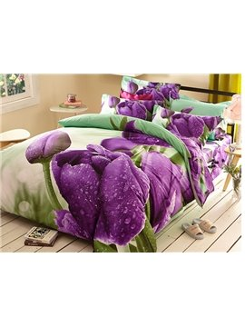 Pastoral Style Purple Tulip 4-Piece 3D Polyester Duvet Cover Sets
