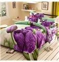 Pastoral Style Purple Tulip 4-Piece 3D Polyester Duvet Cover Sets